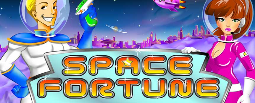 As the name of the game quickly gives away, this game is all about traveling in outer space. On the reels, you will see a number of different symbols that all perfectly fits with the outer space theme of the game. You will come across a beautiful young woman, an Alien, an Alien, a Robot Dog and plenty other symbols. Of course, you can also find a number of extra special symbols on the reels.