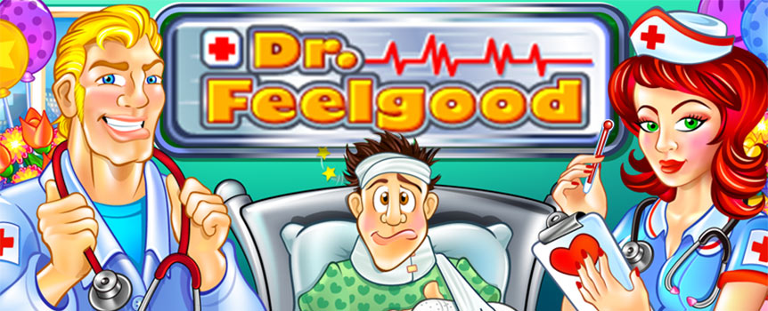 Dr Feelgood features 5-reels and 3 rows with the possibility of landing 25 paylines. Bet can be set by selecting the coin value to be played on each line. Game has Wild and Scatter symbols together with Re-spin feature. The pretty redhead is the nurse and once she will enter the game she writes you a prescription of love. The nurse appears only on reels 2, 3 and 4 but when she comes she takes over all the other symbols – including the Scatter symbol.
