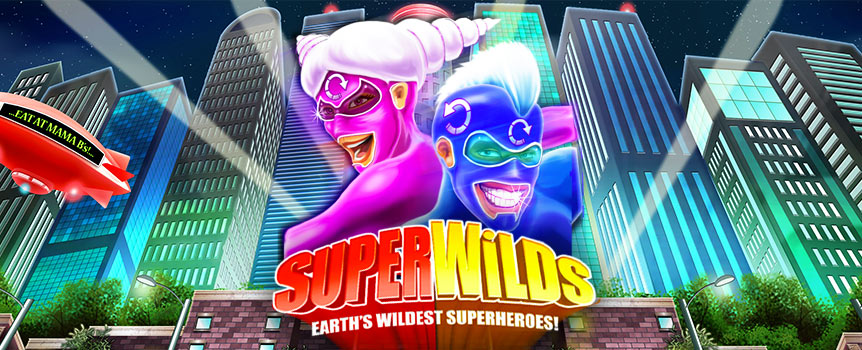 Use your powers for good with the Super Wilds online pokie.