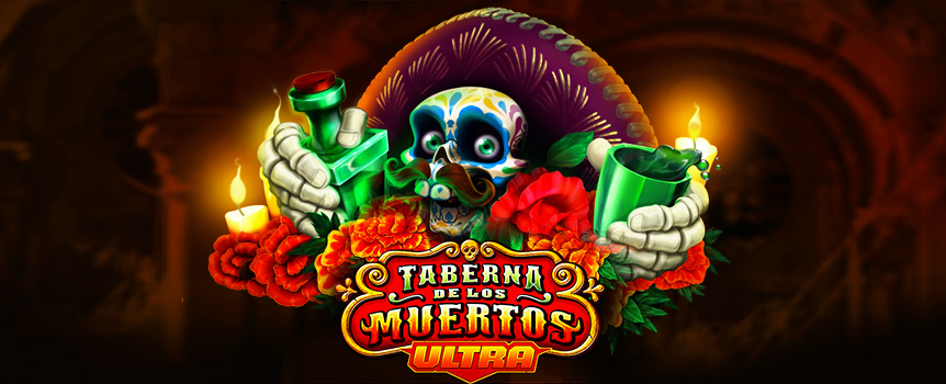 If you want to party like there is no tomorrow with the biggest Payouts on offer, then this Mexican Day of the Dead celebration is your perfect opportunity! Taberna De Los Muertos Ultra is a high volatility pokie with 3 Rows, 5 Reels and 101 Paylines that will give you the chance for massive wins and Payouts up to 14,003x your bet!