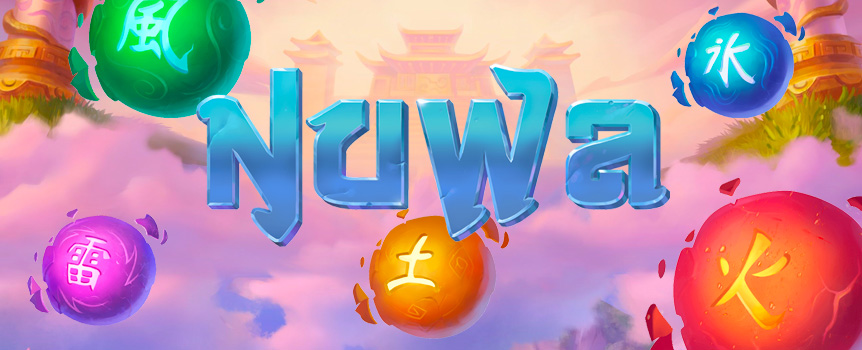 Nuwa is a Chinese inspired slot with a bit of fantasy and consists of 5-reels, three rows and 28 fixed paylines! It's all about the wild symbol in Nuwa which is illustrated with a half woman-half serpent who will show up in both the base game and in the free games feature. The highlights in this game are the free spins where you'll receive eight free games as well as the chance to also trigger the bonus feature!