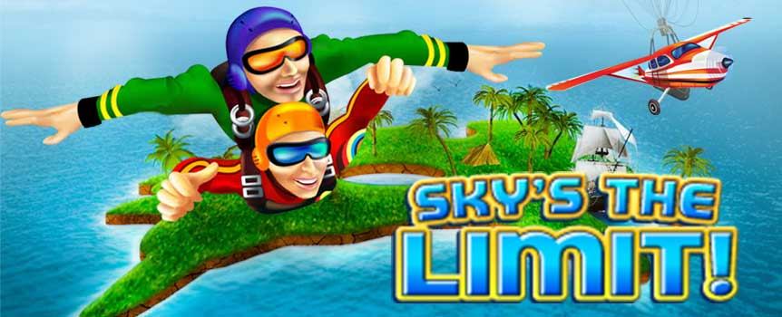 Sky's The Limit is the embodiment of all things action packed into a neat little 5 reeled interactive video slot game. Based around all things action, adventure and adrenaline, the common symbols set upon the reels take the shape of a sky diver, a helmet, a compass, goggles, a parachute and a backpack, to name just a few. With mid-range graphics complimented by the games pristine colours and seamless interface and transitions, the overall layout and presentation of the game is something to be marvelled at.