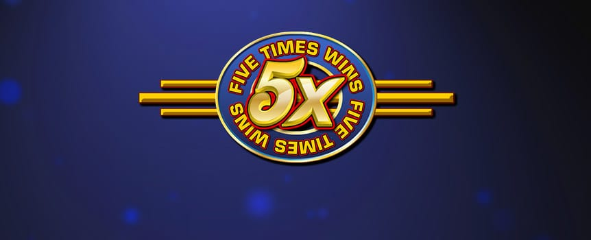 Five Times Wins is a classic 3-reel slot game that will have the purists smiling as they spin whilst they reminisce on the good old days before slots got too complicated. With a whopping 5X multiplier every time a 5X wild symbol is used in a combination, you'll be hoping the wild rolls into your payline more often than not. You'll notice a simple pay table is always visible on the game screen, so you can constantly keep track of how much each combo is going to pay out. Also, remember that 3 coins on each line brings in the biggest payouts. Get betting today and you could be winning… five times!