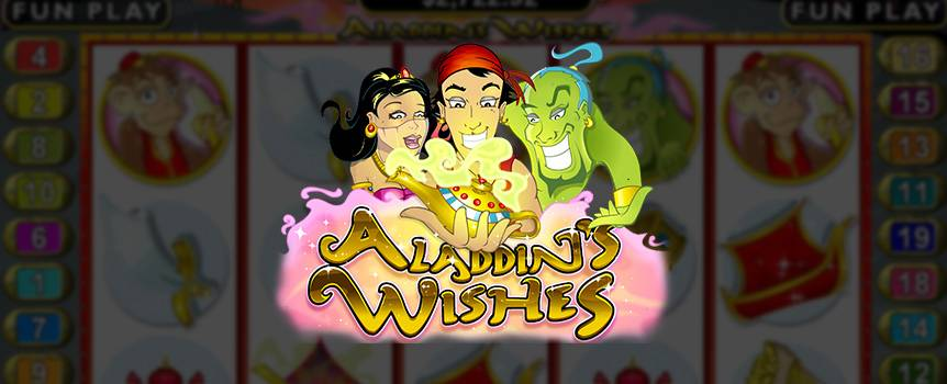 Have a go at Aladdin's Wishes online Slot and you too could encounter the same great luck as this well-known character. You may not be able to wish for a palace or become a worshipped Sultan, but should you land on three or more magic lamps, go ahead and give them a rub. The genie will grant you 25 Free Games along with the possibility of doubling your winnings.