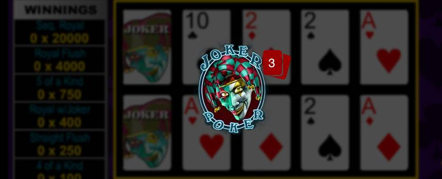 "Joker Poker is a game of draw poker. The player receives five cards from the dealer; the player then chooses which of the cards to keep or ""hold"". Then discards the remaining cards for new ones by pressing deal. The final hand is determined a winning hand if the player has Kings or better. There is also a special payout for having 5 of a kind, or Wild Royal with Joker. Also, Jokers's are wild and can be used to create other winning hands."