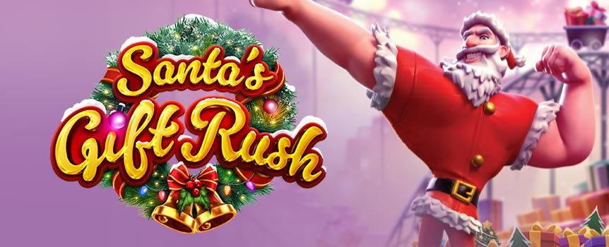 SANTA CLAUS IS COMING TO TOWN TO GIFT YOU A FORTUNE!  Collect Gift Rush symbols to get your dream gift delivered personally by Santa Claus himself! 'Santa's Gift Rush' promises a Christmas full of joy and surprises!